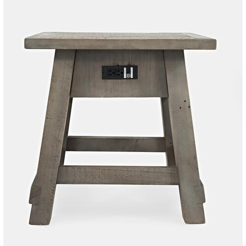 Outer Banks Power End Table - Driftwood