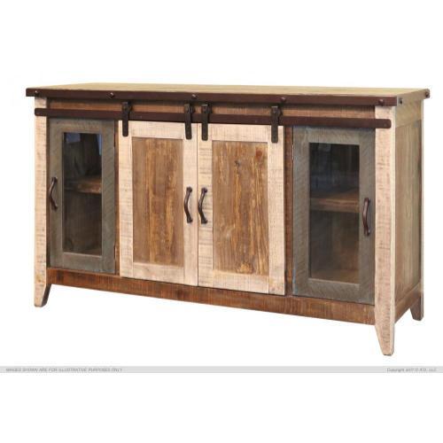 "International Furniture Direct - 60"" TV Stand w/2 Glass doors w/1 middle shelf, 2 Sliding doors, w/2 shelves"