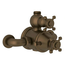 Georgian Era Exposed Thermostatic Valve with Volume and Temperature Control - English Bronze with Cross Handle