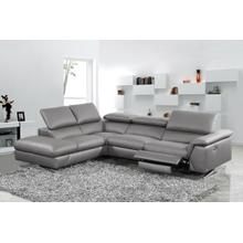 View Product - Divani Casa Maine - Modern Dark Grey Eco-Leather Left Facing Sectional Sofa with Recliner