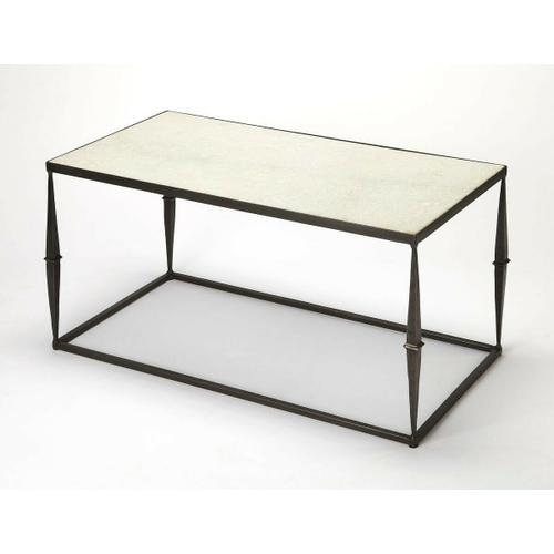 This understated cocktail table is a great addition in any modern minimalist living room or office space. Its forged iron base has a black finish with iron stake post legs supporting a cool white marble tabletop.