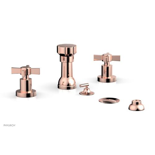BASIC Four Hole Bidet Set - Blade Cross Handles D4137 - Polished Copper