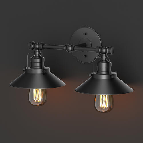 Modern Farmhouse Retro Lighting Sconces in Matte Black