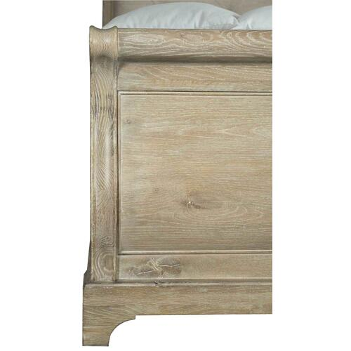California King Rustic Patina Upholstered Sleigh Bed in Sand (387)