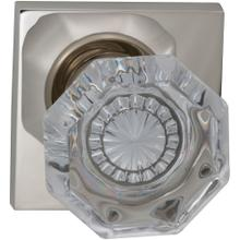 Interior Traditional Knob Latchset with Square Rose in (US14 Polished Nickel Plated, Lacquered)