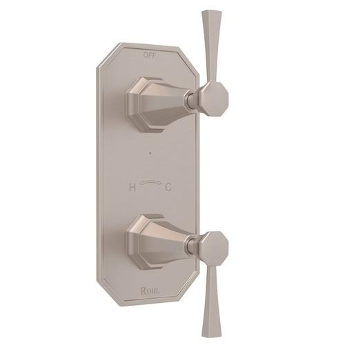 """Satin Nickel Perrin & Rowe Deco 1/2"""" Thermostatic/Diverter Control Trim with Deco Metal Lever"""