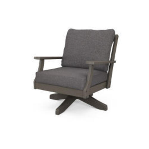 Polywood Furnishings - Braxton Deep Seating Swivel Chair in Vintage Coffee / Ash Charcoal