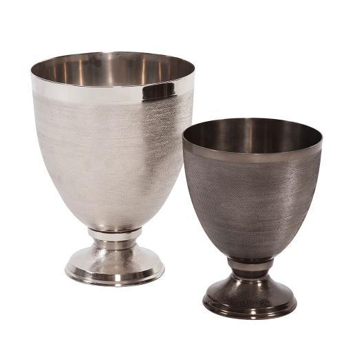 Howard Elliott - Textured Smoke Black Metal Goblet Vase, Small