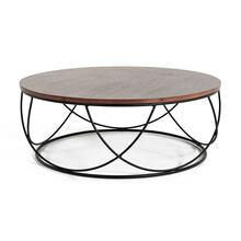 View Product - Modrest Strang Modern Walnut & Black Round Coffee Table