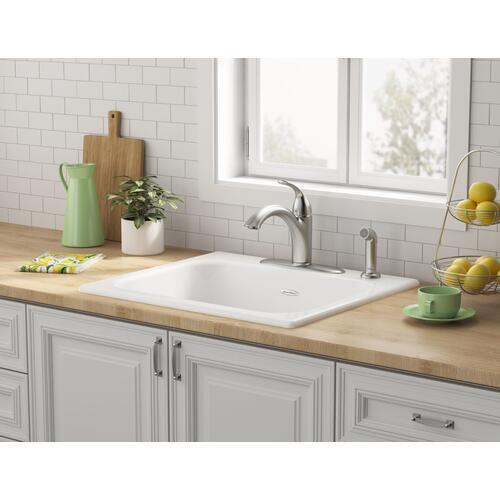 Quince 25x22-inch Single Bowl Cast Iron Kitchen Sink - 4-Holes  American Standard - Brilliant White