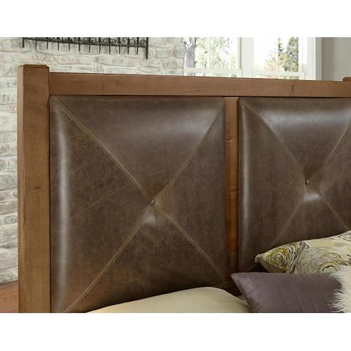 Queen Leather Bed with 1 Side Storage