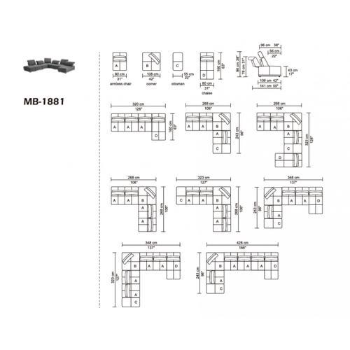 VIG Furniture - Divani Casa Ekron - Modern Grey Fabric Modular Sectional Sofa