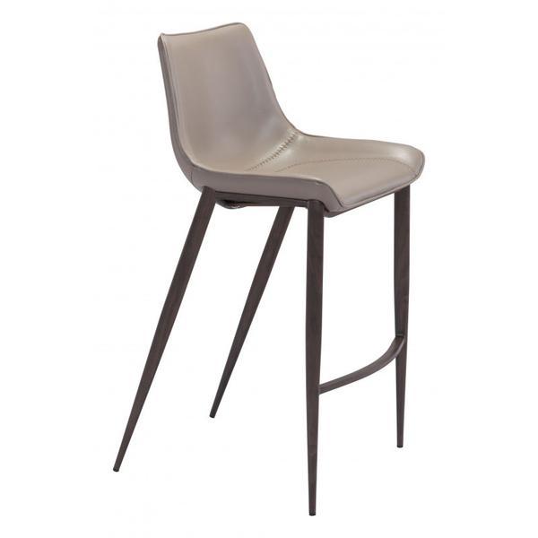 Magnus Bar Chair Gray & Walnut