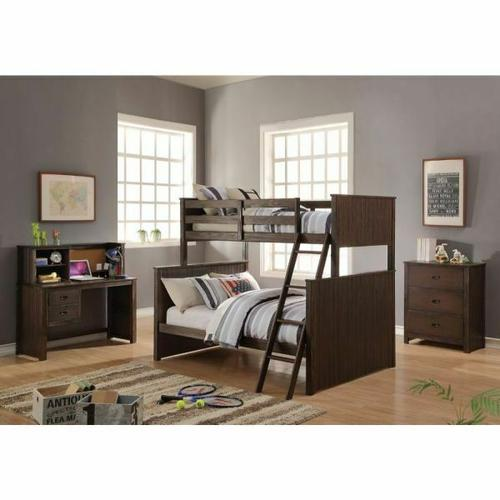 ACME Hector Twin/Full Bunk Bed - 38020 - Antique Charcoal Brown