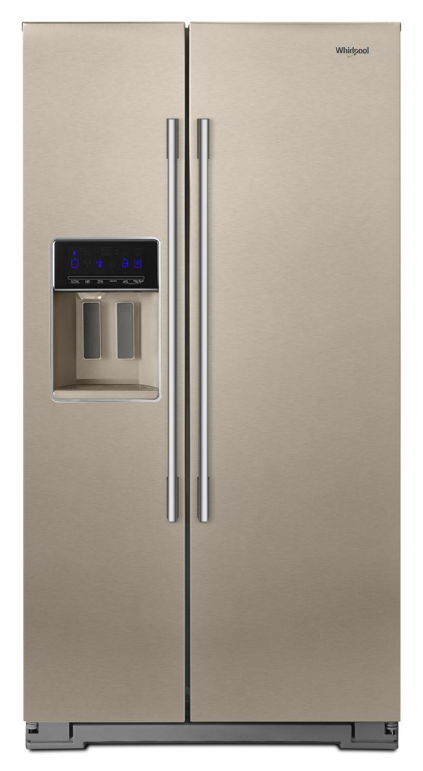 Whirlpool36-Inch Wide Contemporary Handle Counter Depth Side-By-Side Refrigerator - 21 Cu. Ft. Fingerprint Resistant Sunset Bronze