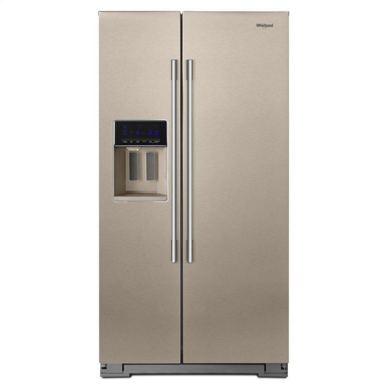 36-inch Wide Contemporary Handle Counter Depth Side-by-Side Refrigerator - 21 cu. ft. Fingerprint Resistant Sunset Bronze