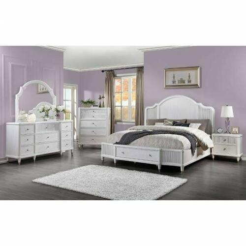 ACME Celestia Queen Bed (Storage) - 22110Q - Coastal - Wood (Solid Poplar), Wood Veneer (Oak), Poly-Resin, MDF, Ply, PB - Off White