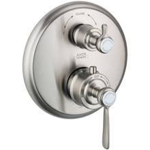 Brushed Nickel Thermostat for concealed installation with lever landle and shut-off/ diverter valve