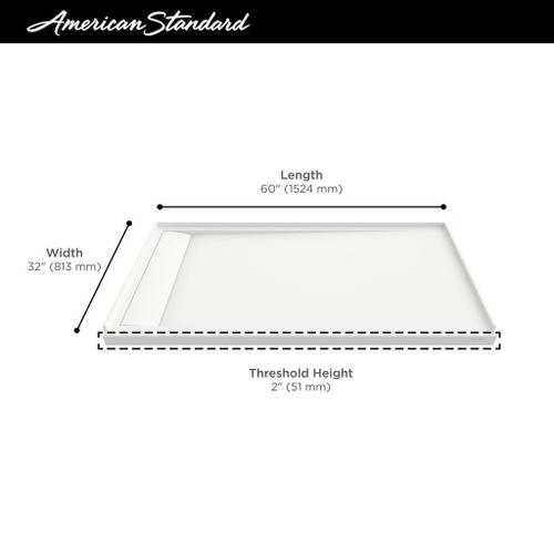 American Standard - Townsend 60x32-inch Solid Surface Shower Base - Left Drain  American Standard - Soft White
