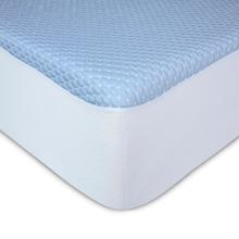 See Details - Sleep Chill + Crystal Gel Mattress Protector with Cooling Fibers and Blue 3-D Fabric, Twin