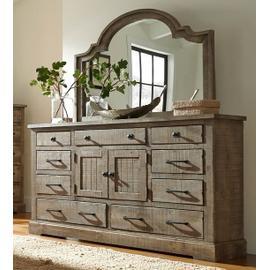 Dresser \u0026 Mirror - Weathered Gray Finish