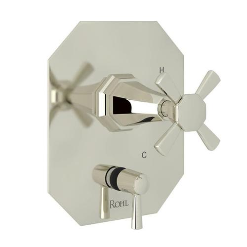 Deco Pressure Balance Trim with Diverter - Polished Nickel with Cross Handle