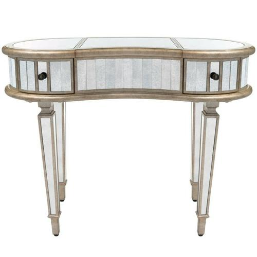 Trimmed in antique pewter and crafted from Birch Wood solids, this mirrored vanity adds a beautiful touch of class to any space! The right and left drawers are a great place to tuck away your treasures; the center compartment opens to reveal storage and