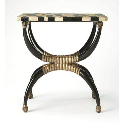 Butler Specialty Company - Cast resin base with zebra pattern fossil stone veneer top. Antique brass finished highlights.