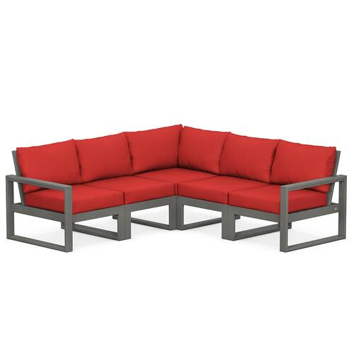 Polywood Furnishings - EDGE 5-Piece Modular Deep Seating Set in Slate Grey / Crimson Linen