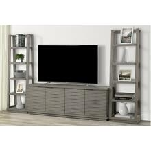 See Details - PURE MODERN 76 in. Console w/ Pair of Angled Etagere Bookcase Piers