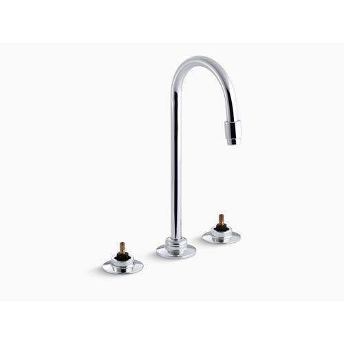 Polished Chrome Widespread Commercial Bathroom Sink Faucet With Rigid Connections and Gooseneck Spout With Vandal-resistant Aerator, Requires Handles, Drain Not Included