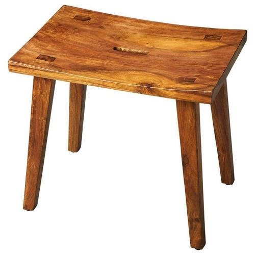Butler Specialty Company - The gently concave seat and zen-like slanted legs of this stool create the irresistible allure of elegant simplicity. The unadulterated wet sand finish showcases the intricate graining of the exotic acacia wood it is crafted from.