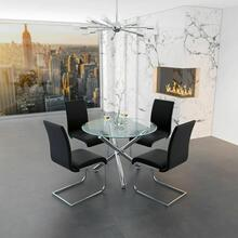See Details - Solara II/Maxim 5pc Dining Set, Chrome/Black