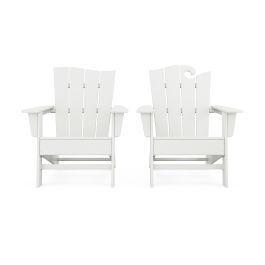 Polywood Furnishings - Wave 2-Piece Adirondack Set with The Wave Chair Left in Vintage White