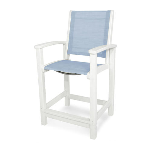 White & Poolside Coastal Counter Chair