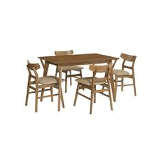 Dining Table with 4 Chairs - Toffee Finish