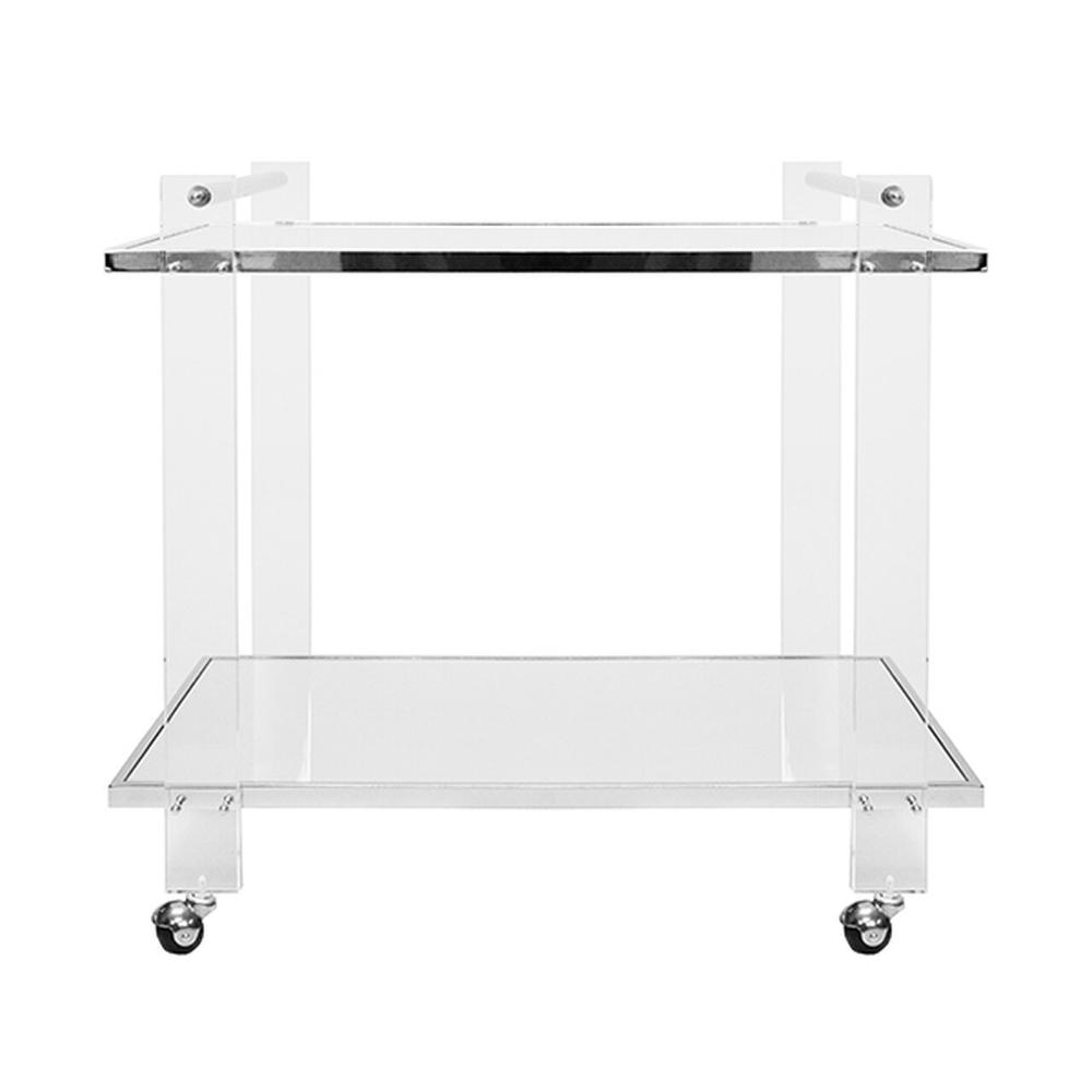 Acrylic Leg Bar Cart With Inset Mirror and Nickel Frame