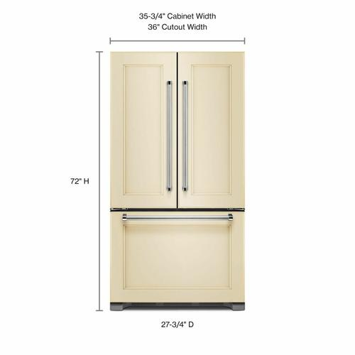 KitchenAid - 22 cu. ft. 36-Inch Width Counter Depth Panel Ready with Interior Dispense French Door Refrigerator - Panel Ready PA
