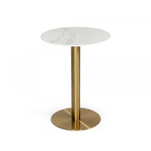 VIG Furniture - Modrest Fairway - Glam White Marble and Brushed Gold Bar Table
