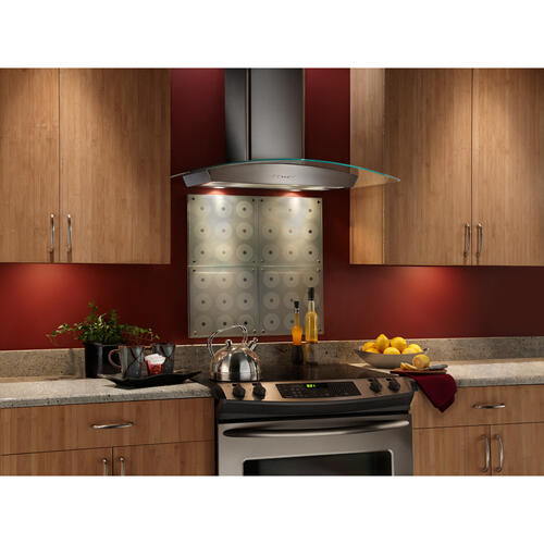 Broan® 30-Inch Curved Glass Canopy Wall-Mount Range Hood w/ Heat Sentry , 500 CFM, Stainless Steel