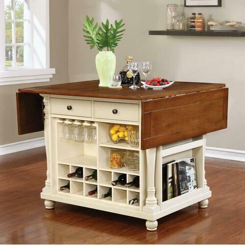 Coaster - Slater Country Cherry and White Kitchen Island