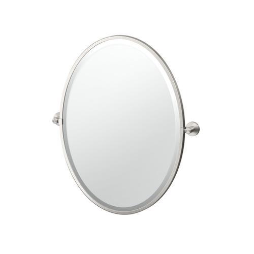 Reveal Framed Oval Mirror in Satin Nickel