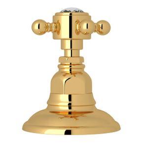 Deck Mount 3-Port 2 Direction Diverter - Italian Brass with Crystal Cross Handle