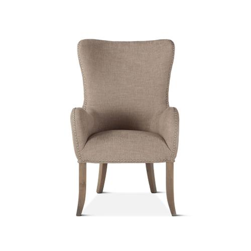 Product Image - Loft Beige Linen Tufted Armchair with Silver Nailhead Trim