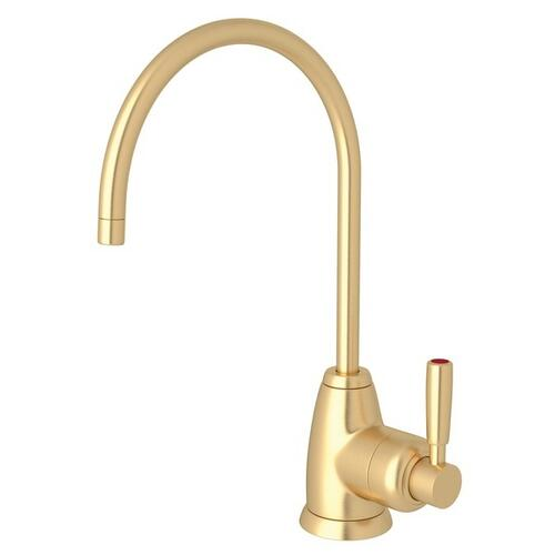 Satin English Gold Perrin & Rowe Holborn C-Spout Hot Water Faucet with Contemporary Metal Lever