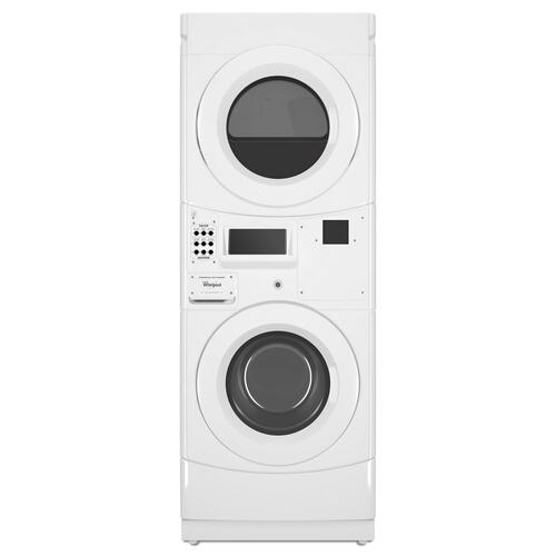 Whirlpool - Commercial Electric Stack Washer/Dryer, Non-Vend White