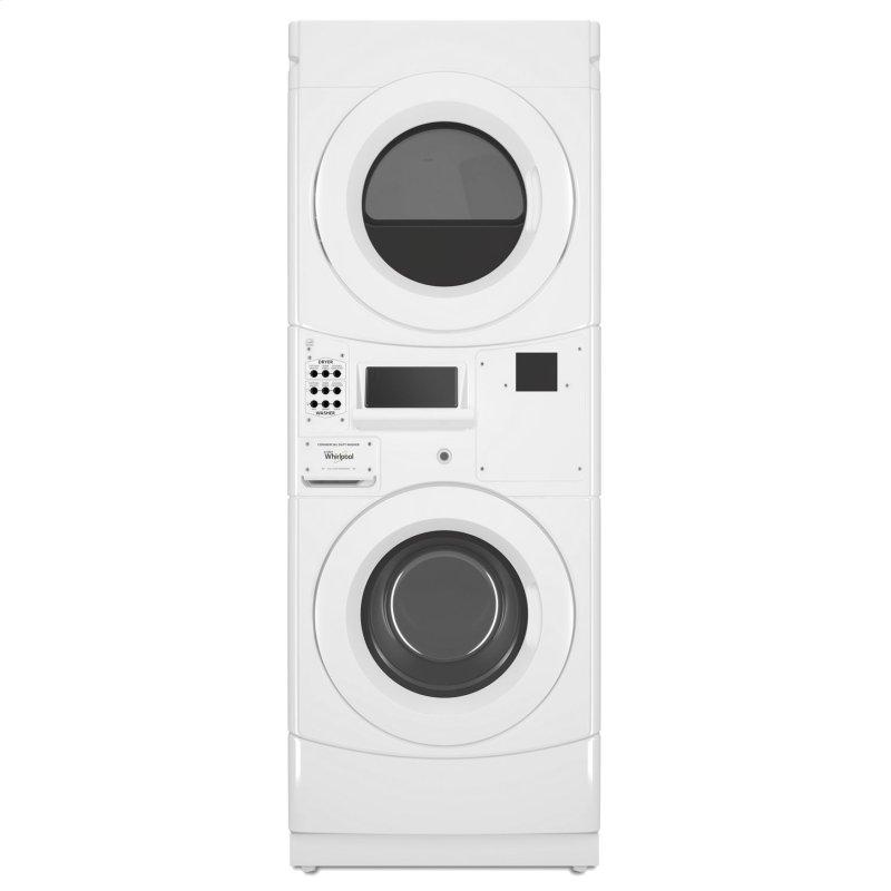 Commercial Electric Stack Washer/Dryer, Non-Vend White