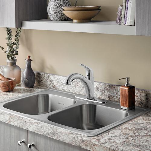 American Standard - Colony Top Mount ADA 33x22 Double Bowl Stainless Steel 4-hole Kitchen Sink  American Standard - Stainless Steel