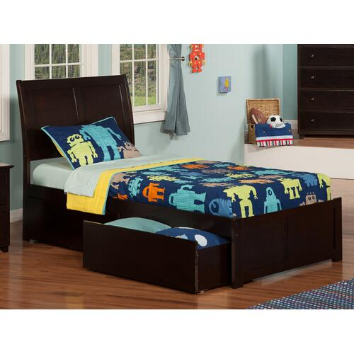 Atlantic Furniture - Portland Twin Flat Panel Foot Board with 2 Urban Bed Drawers Espresso