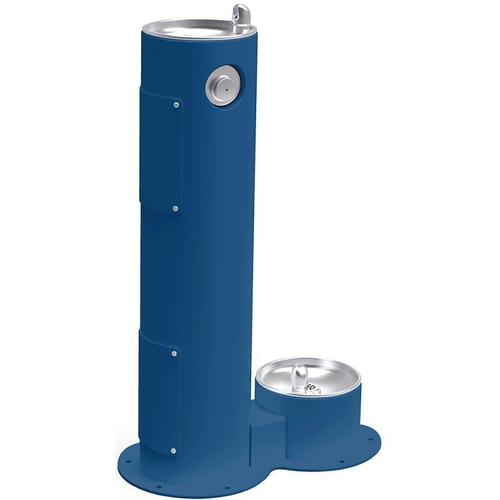 Elkay Outdoor Fountain Pedestal with Pet Station, Non-Filtered Non-Refrigerated, Freeze Resistant, Blue